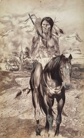 Native American Indian Painting, Grand Teton, Broxton