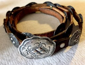 Native American Indian Sterling Silver Concho Belt