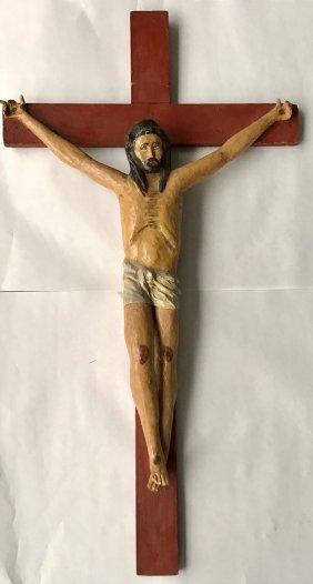 "Large Carved Wood Folk Art Painted Cross, 33"" x 18"""