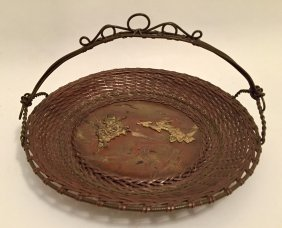 Japanese Bronze Tray with Handle, 19th Century