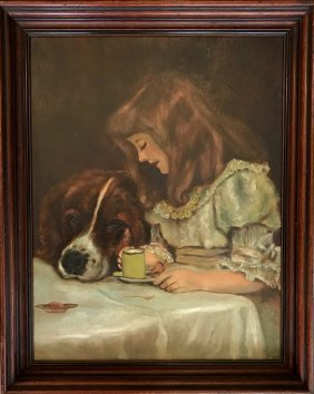 American School Painting, Young Girl With Her Dog