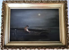 Continental Oil Painting, Girl In Moonlight, F. Gaffney