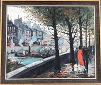 Modernist French Painting, Boats Along The Seine,Signed