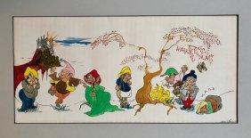 Snow White & Seven Dwarfs Book Illustration Painting