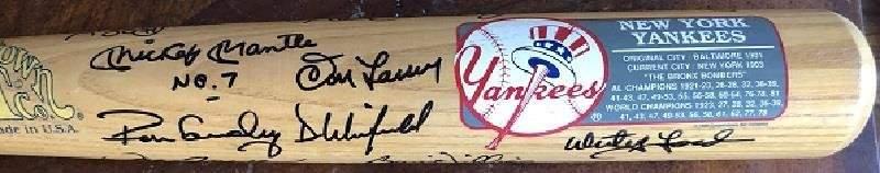NY Yankees Legends- Ultimate Signed Baseball Bat by 21
