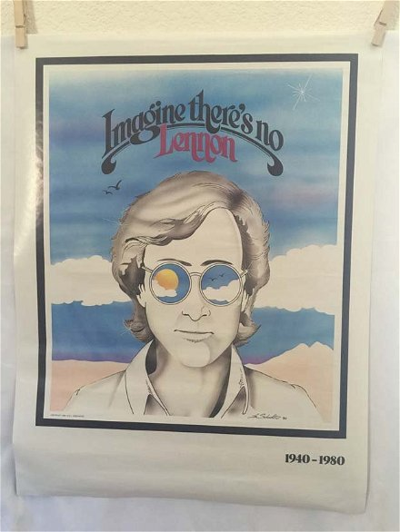 Vintage Original 1980 John Lennon Imagine Poster Aug 01 2015 Pay The Ladies In Ca