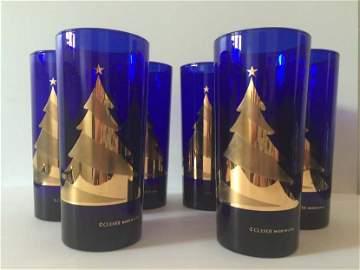 CULVER SET COBALT BLUE CHRISTMAS GLASSES - SIGNED - 22K