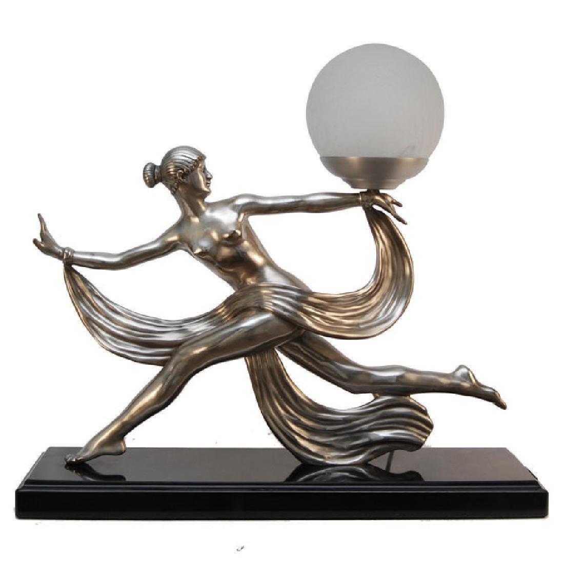 Bronze Art Deco Figurine Lamp
