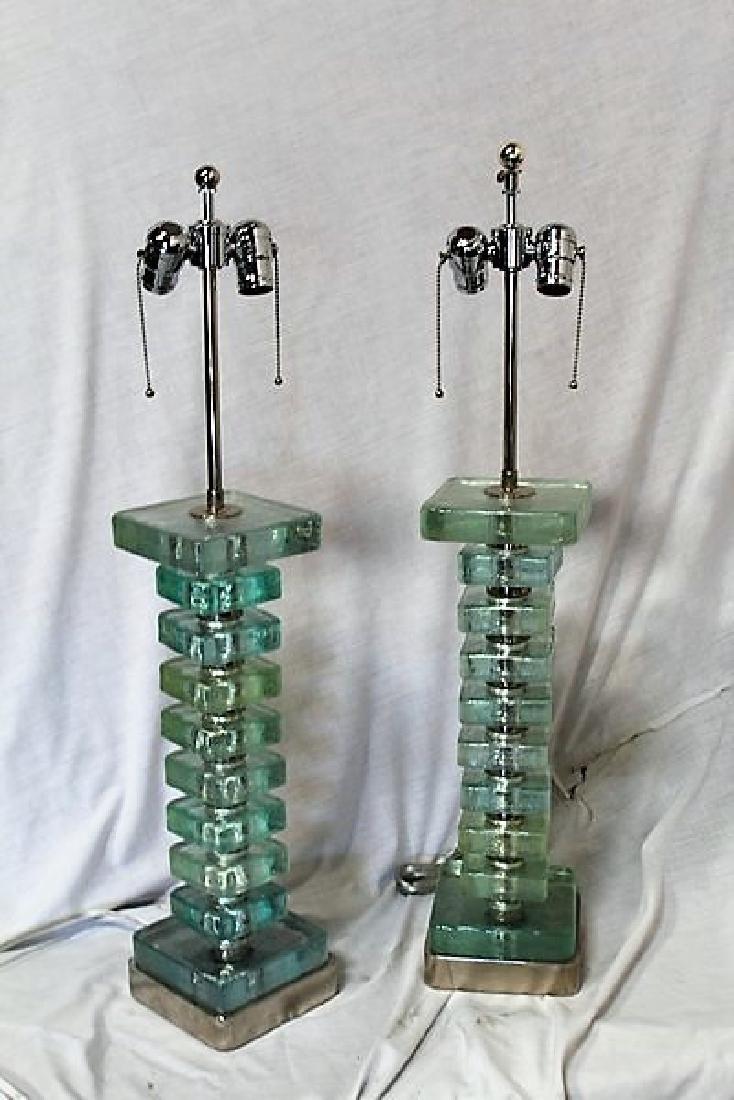 Modern Square Block Lamp Bases (Pair)
