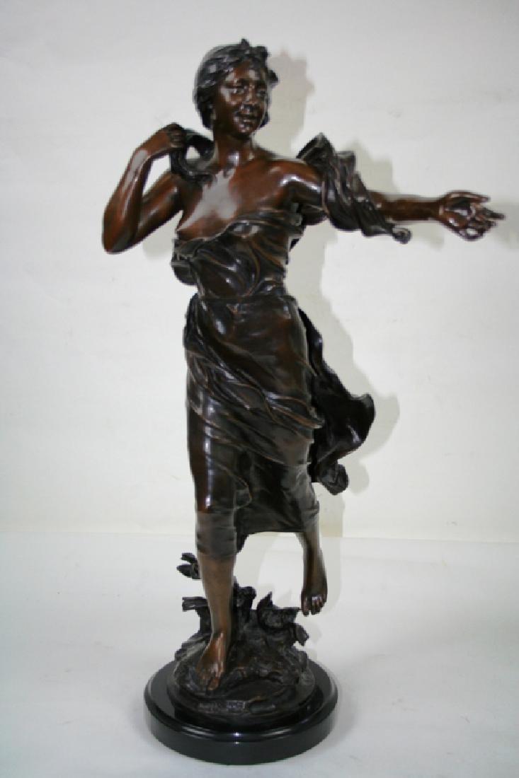 Bronze Art Deco Style Lady Figurine on Black Marble