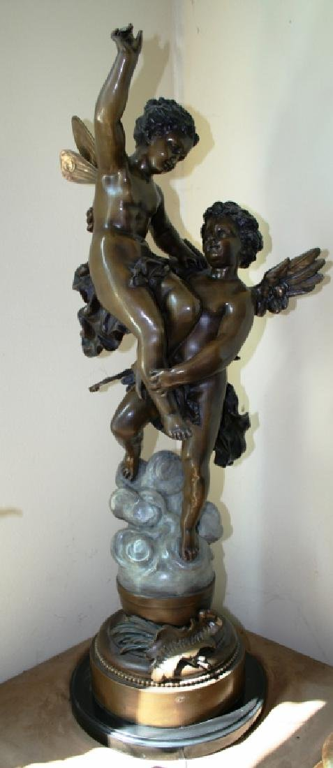 Bronze Cupid and Pixy Girl Figurine Titled Triumphator