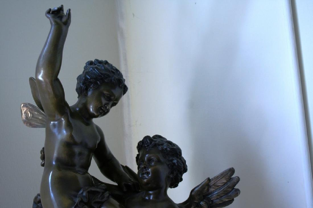 Bronze Cupid and Pixy Girl Figurine Titled Triumphator - 2