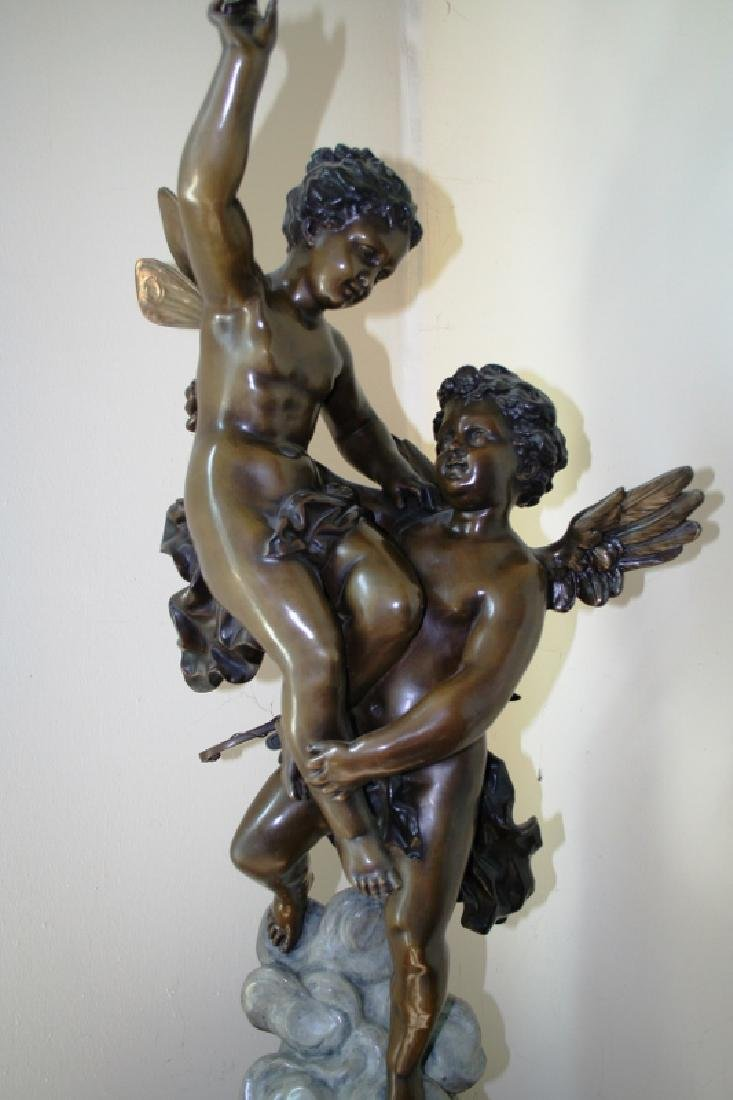 Bronze Cupid and Pixy Girl Figurine Titled Triumphator - 5