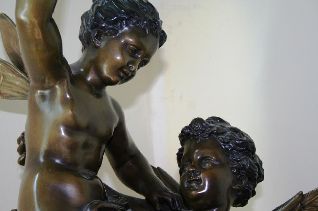 Bronze Cupid and Pixy Girl Figurine Titled Triumphator - 6