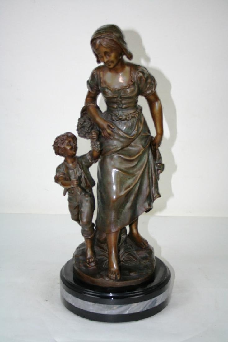 Bronze Statue of Mother and Child