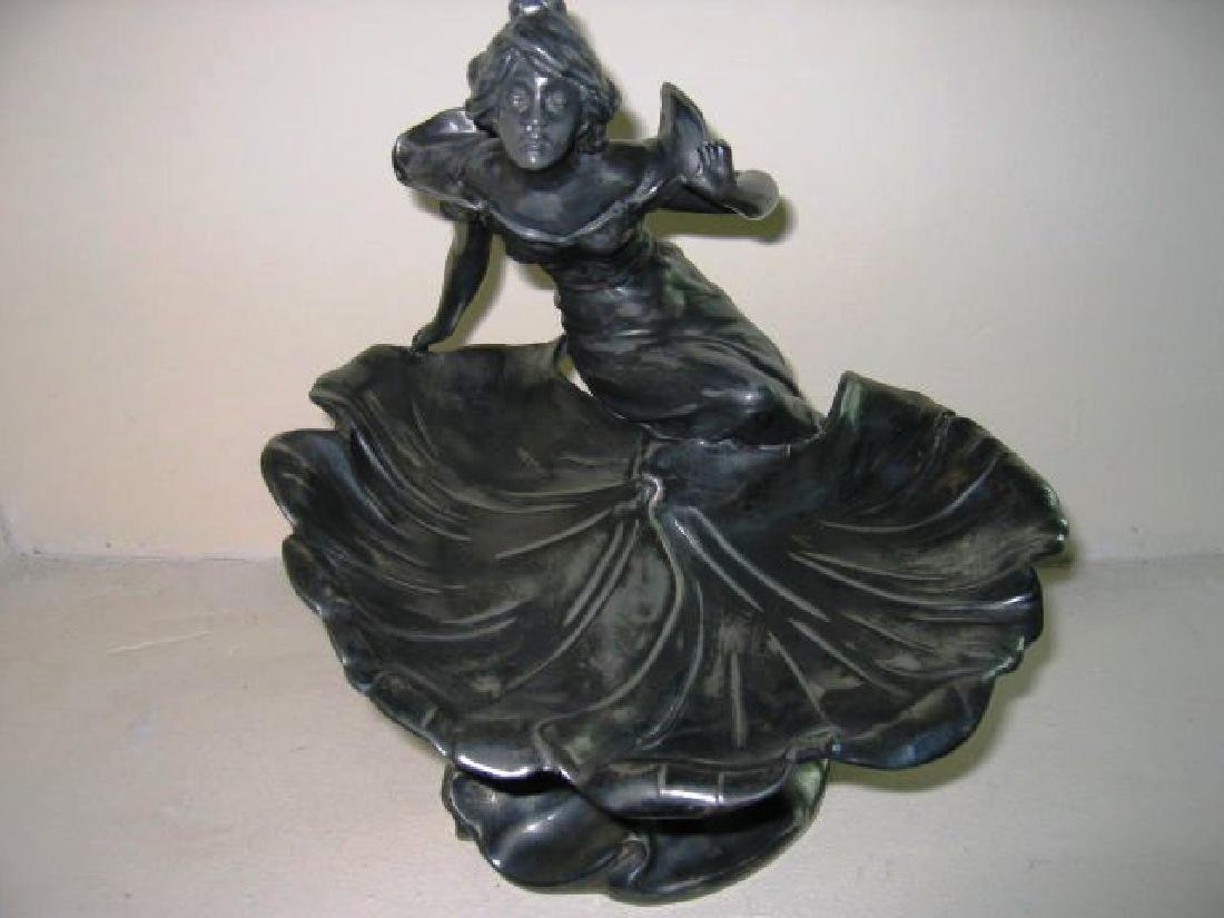 Antique Art Nouveau Pewter Dish