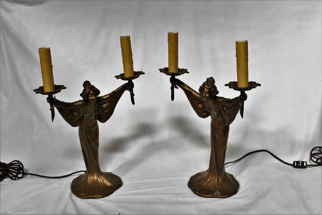 Art Nouveau Style Lady Canelabra Lamps (Pair)