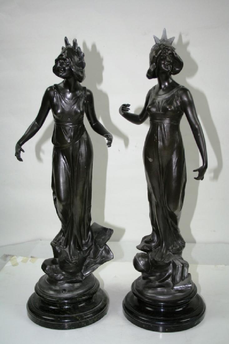 Pair of Antique Art nouveau Lady figurines