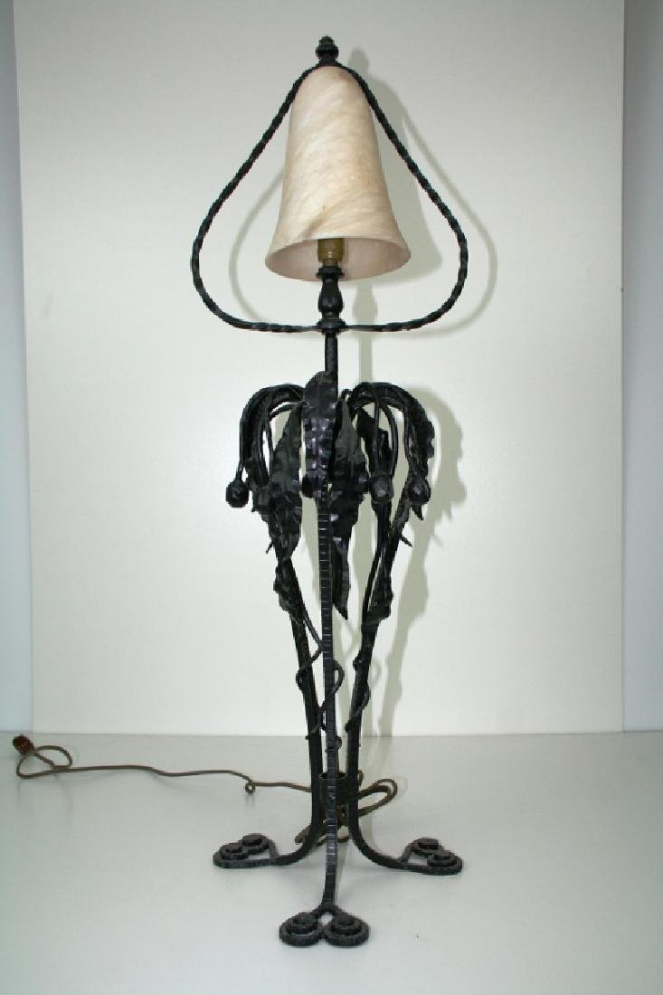Art Deco Style Iron and Alabaster Table Lamp