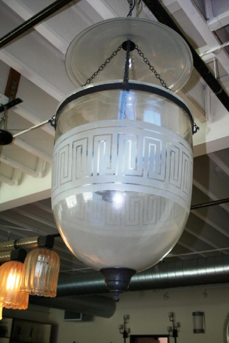 Large Bell Jar with Greek Key Pattern Chandelier