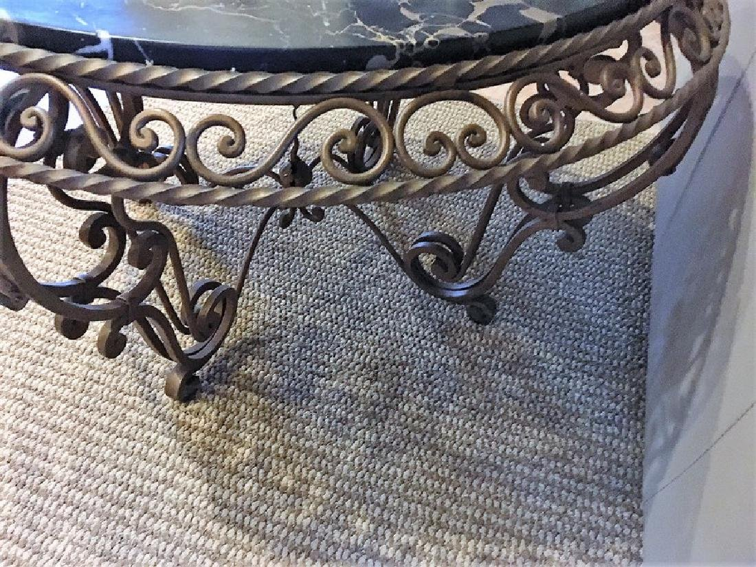Antique Wrought Iron Marble-Top Coffee Table - 2