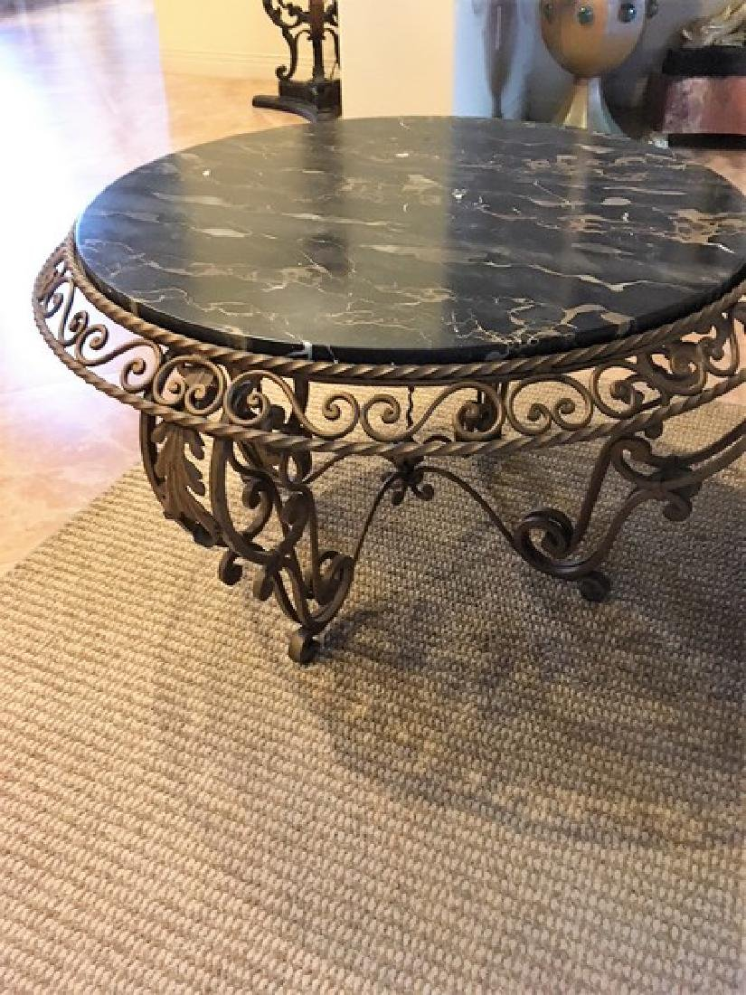 Antique Wrought Iron Marble-Top Coffee Table - 3