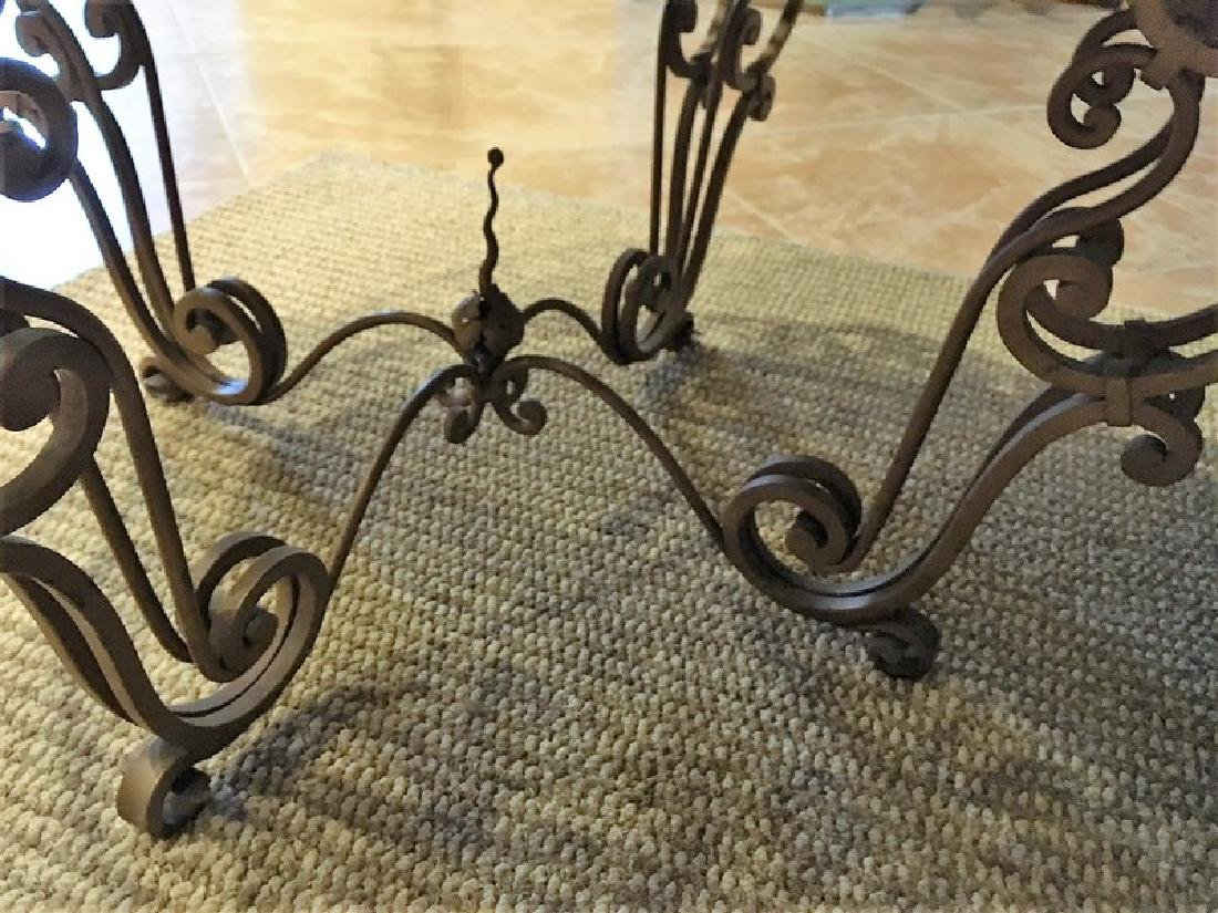 Antique Wrought Iron Marble-Top Coffee Table - 4
