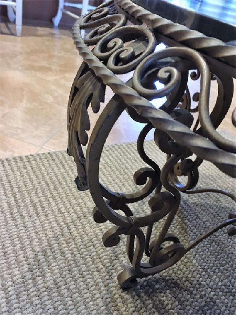 Antique Wrought Iron Marble-Top Coffee Table - 5