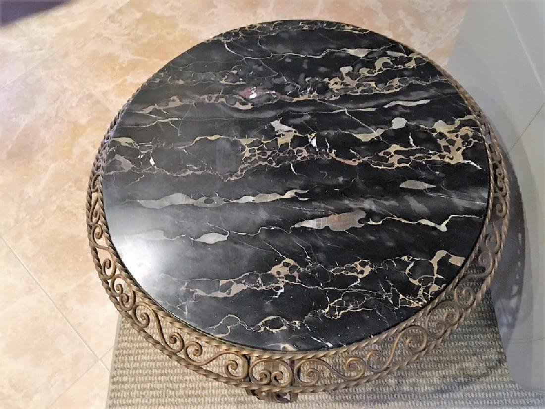 Antique Wrought Iron Marble-Top Coffee Table - 6
