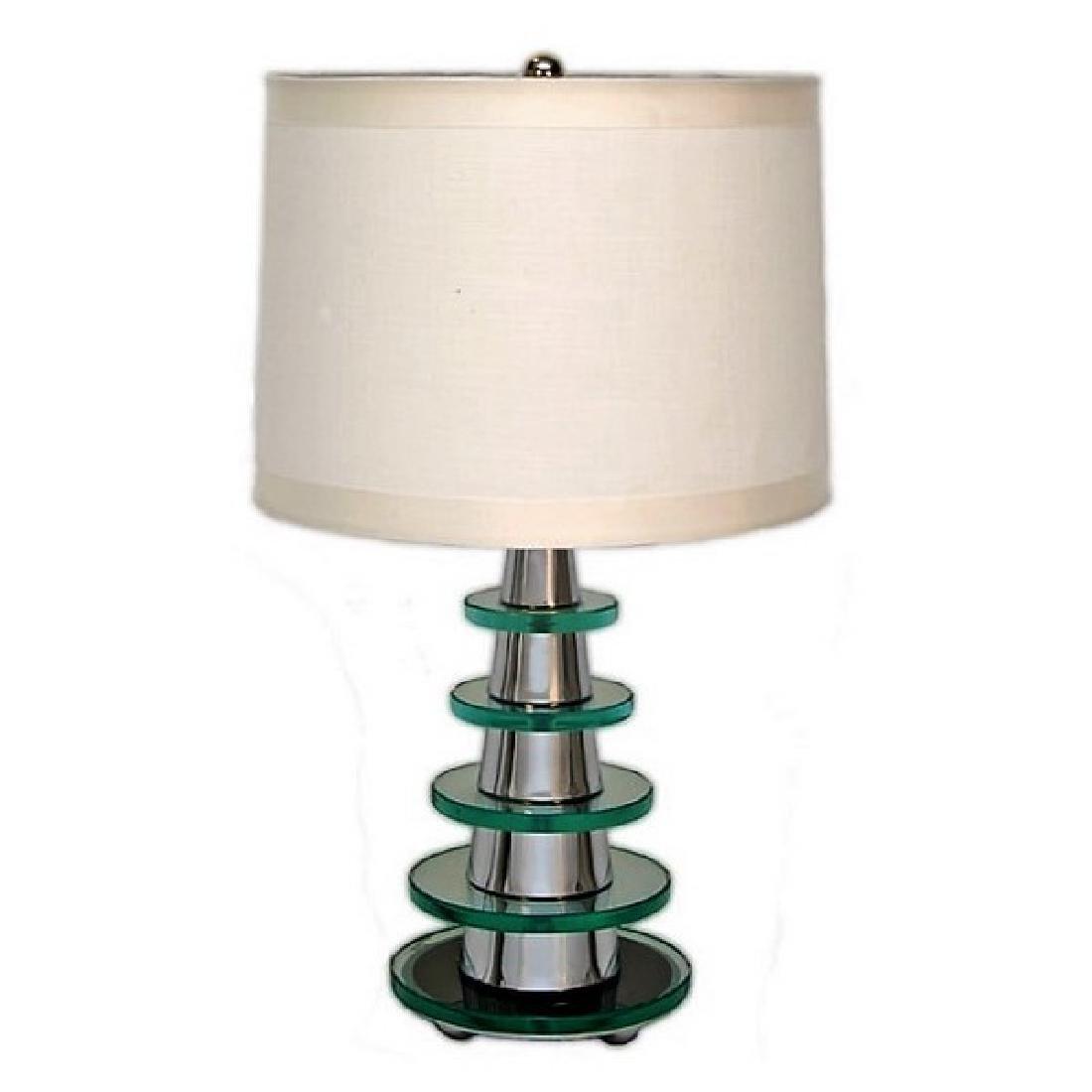 Modern Deco Glass Pyramid Table Lamp