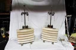 Art Deco Style Alabaster Block Lamps (Pair)