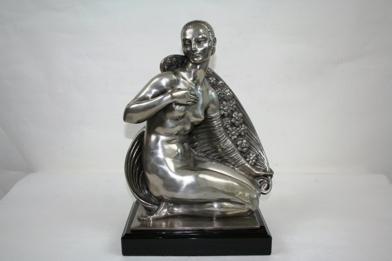 Art Deco Bronze of a Nude Girl with Cape