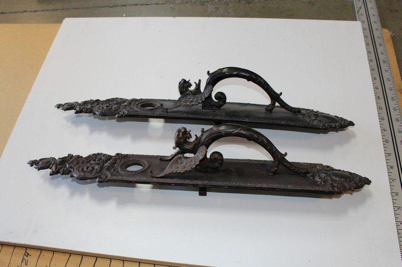 Gothic Style Doorplates with Dragon Handles (2)