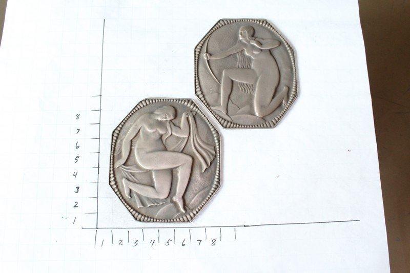 Bronze Art Deco Style Cabinet Plaques (Pair)