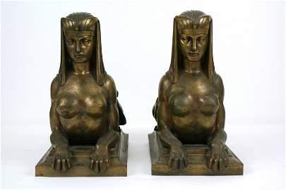 Antique Bronze Andirons (Pair)