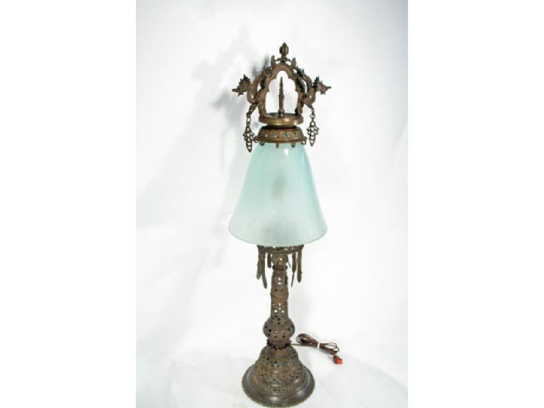 Asian Influenced Bronze Table Lamp.