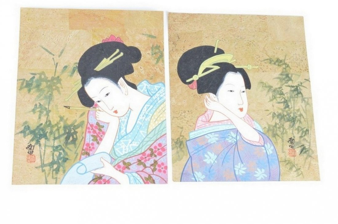Hand-drawn Japanese Beauty Portrait with Sprinkler