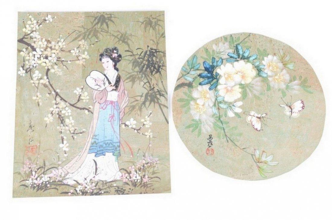 Chinese Beauties Wearing Flowers Portrait