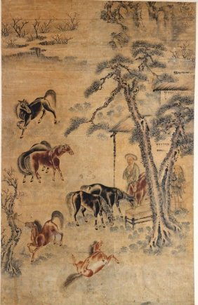 Chinese Yuan Ming-painting Of Eight Handsom Horse