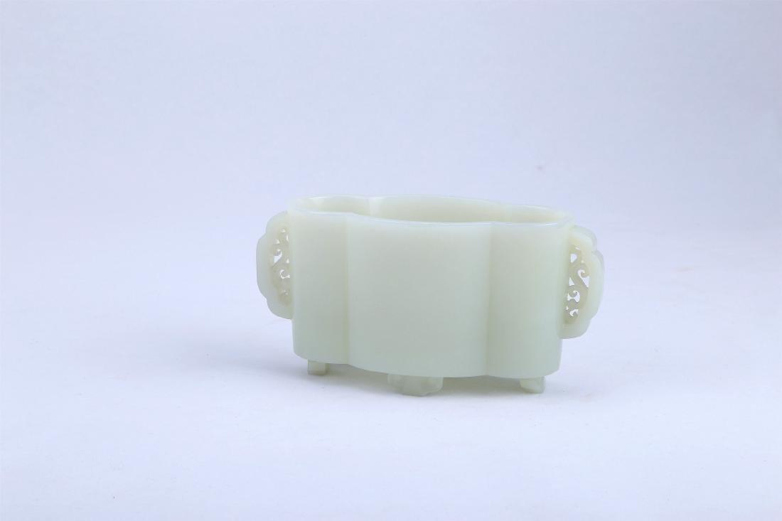 A Chinese White Jade Brush Washer