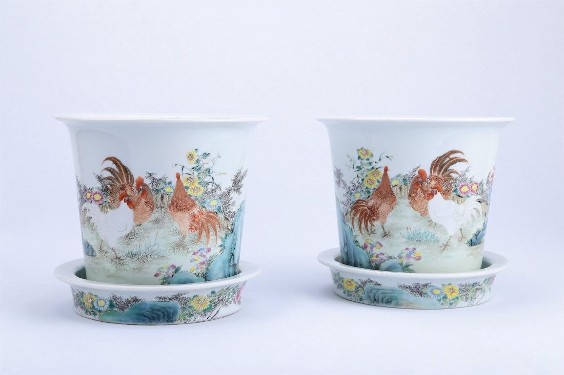 A Pair of Chinese Famille-Rose Porcelain Planter