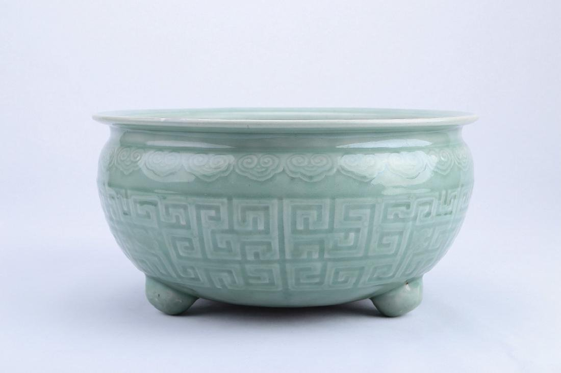 A Chinese Celadon Porcelain Three-Feet Brush Washer