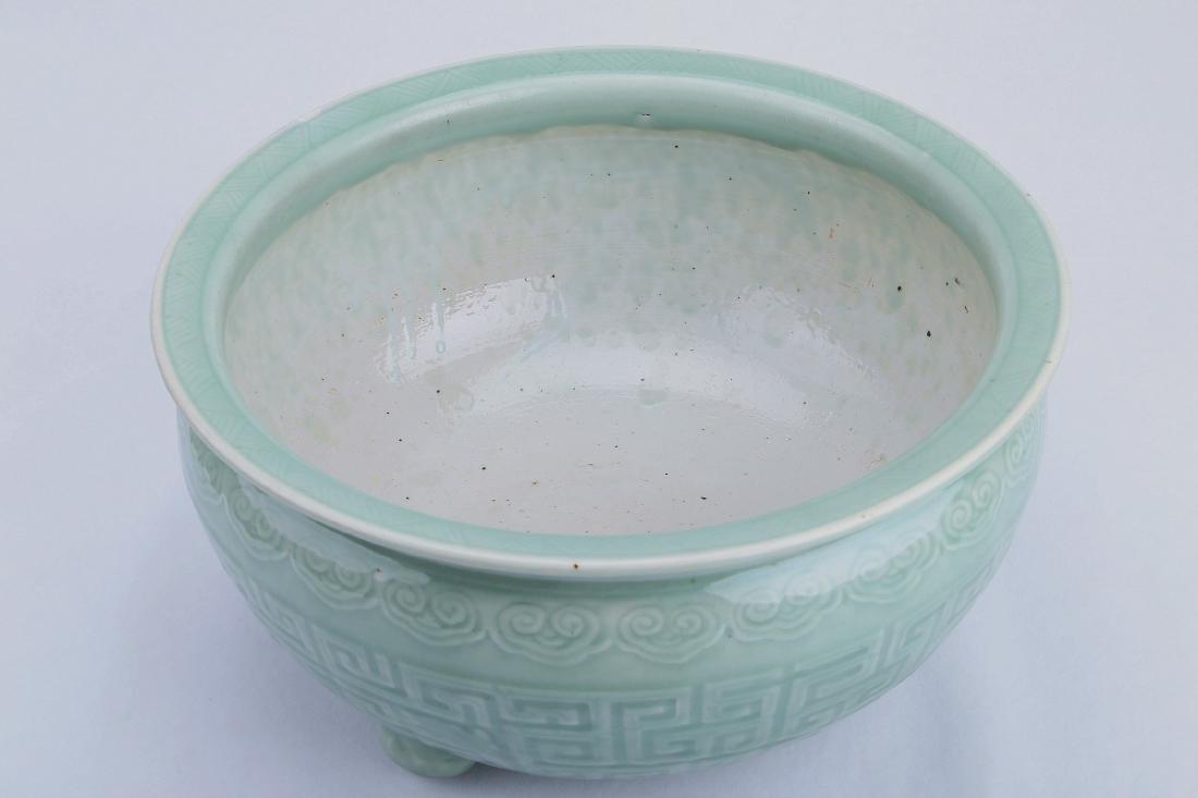 A Chinese Celadon Porcelain Three-Feet Brush Washer - 3