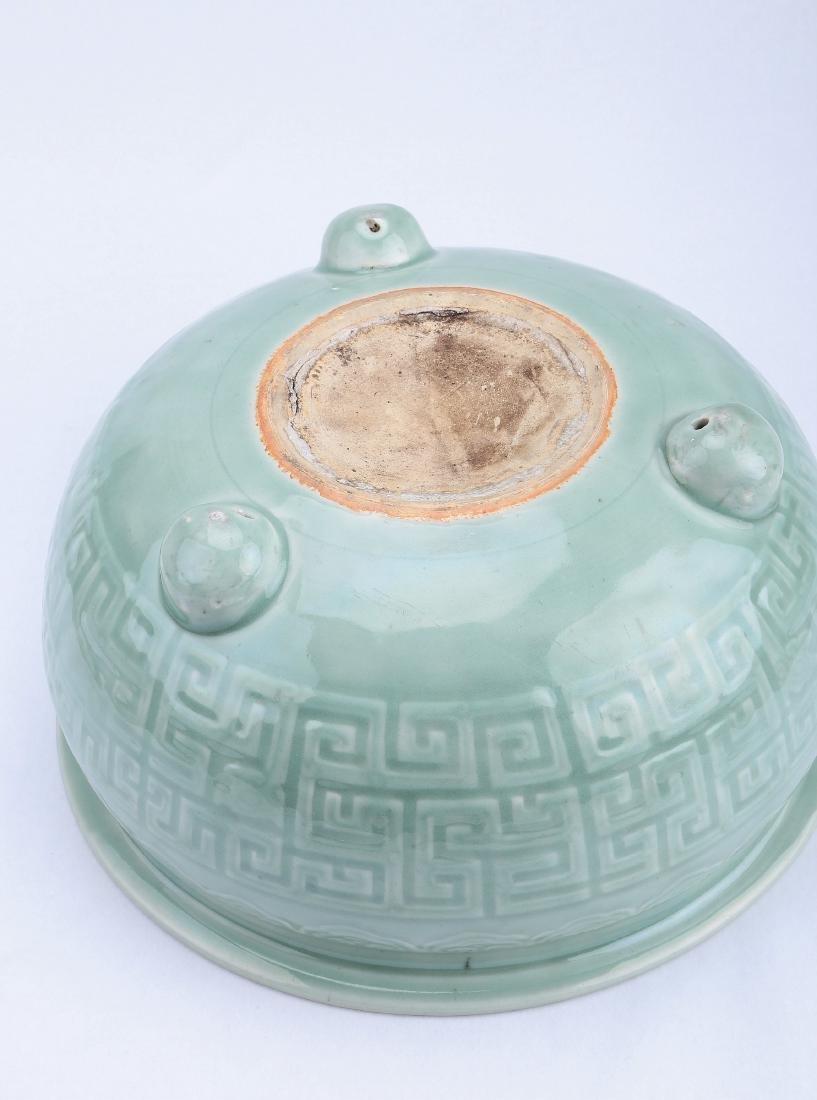 A Chinese Celadon Porcelain Three-Feet Brush Washer - 4