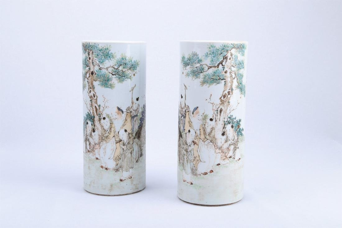 A Pair of Chinese Qianjiang Porcelain Hat Stands