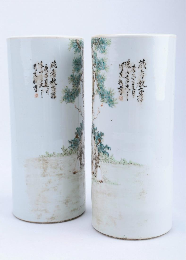 A Pair of Chinese Qianjiang Porcelain Hat Stands - 4