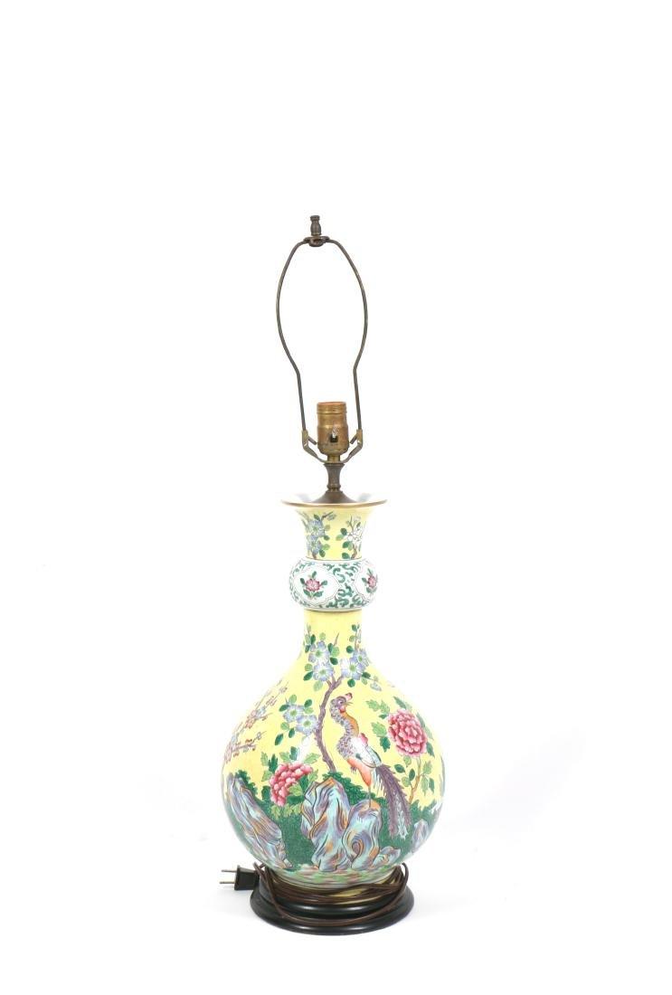 A Chinese Yellow Glazed Porcelain Vase Lamp