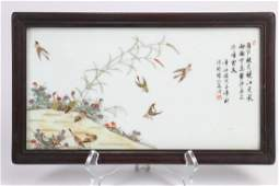 Chinese Famille-Rose Porcelain Plaque with Frame