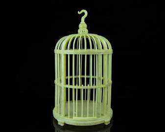A Chinese Carved Jade Bird Cage