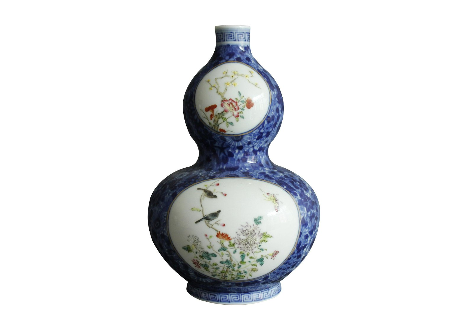 A Chinese Blue and White Famille-Rose Porcelain Double